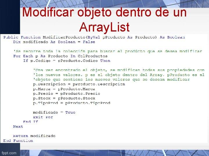 Modificar objeto dentro de un Array. List