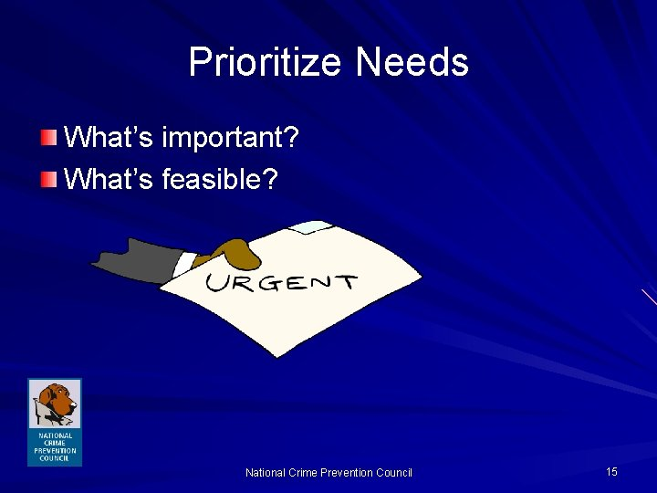 Prioritize Needs What's important? What's feasible? National Crime Prevention Council 15