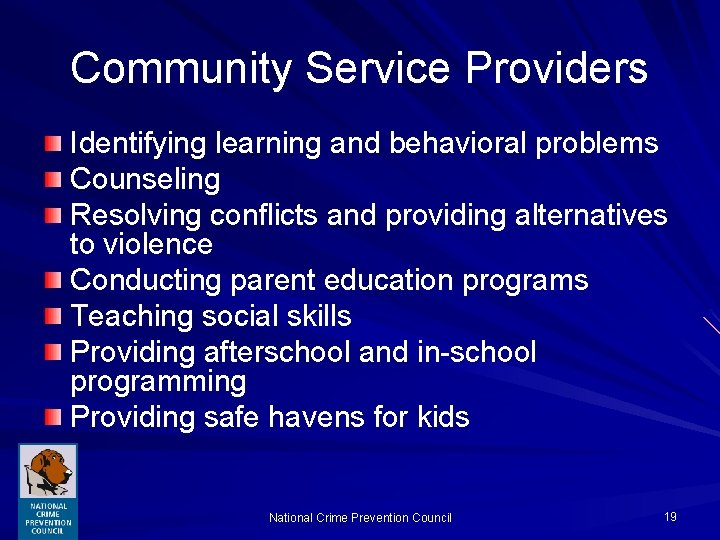 Community Service Providers Identifying learning and behavioral problems Counseling Resolving conflicts and providing alternatives