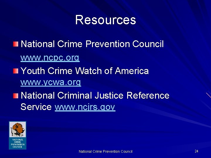 Resources National Crime Prevention Council www. ncpc. org Youth Crime Watch of America www.