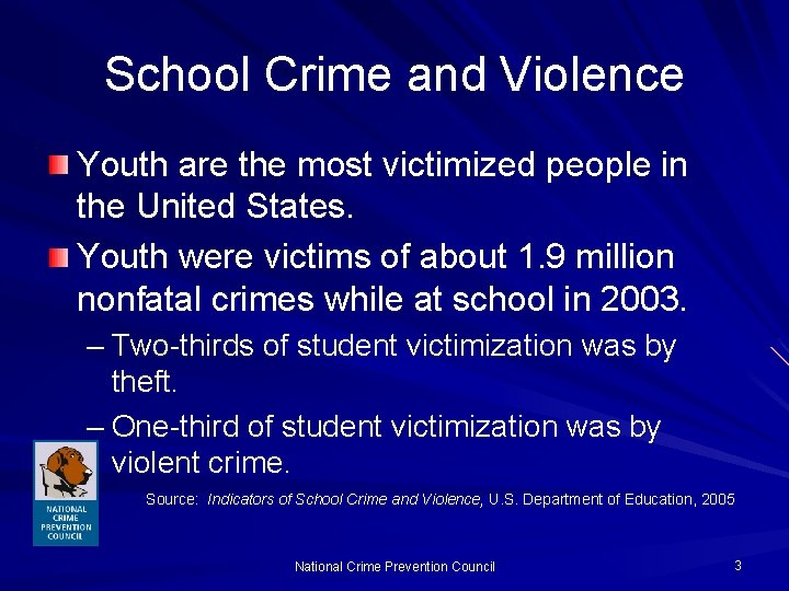 School Crime and Violence Youth are the most victimized people in the United States.