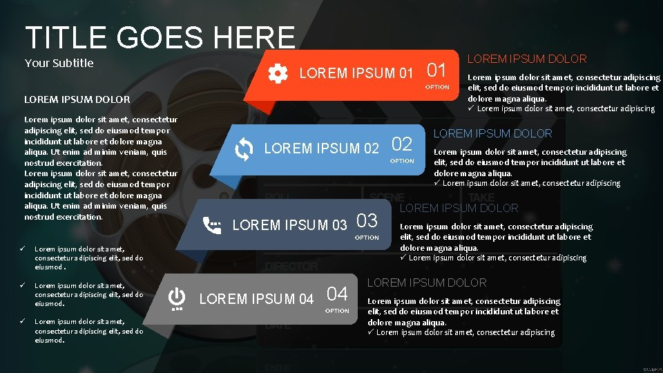TITLE GOES HERE Your Subtitle LOREM IPSUM 01 01 OPTION LOREM IPSUM DOLOR Lorem