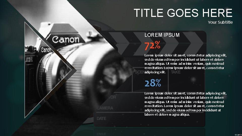 TITLE GOES HERE Your Subtitle LOREM IPSUM 72% Lorem ipsum dolor sit amet, consectetur