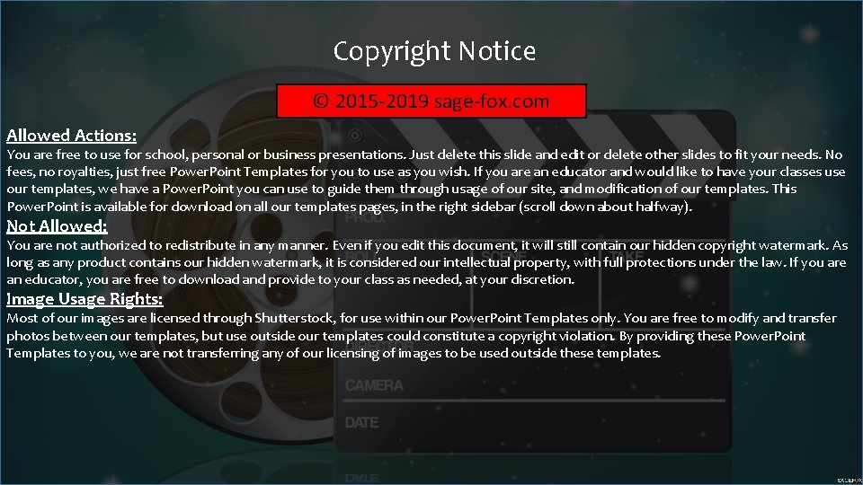 Copyright Notice © 2015 -2019 sage-fox. com Allowed Actions: You are free to use