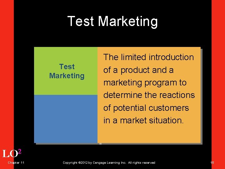 Test Marketing The limited introduction of a product and a marketing program to determine