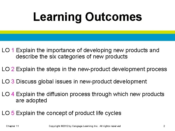 Learning Outcomes LO 1 Explain the importance of developing new products and describe the