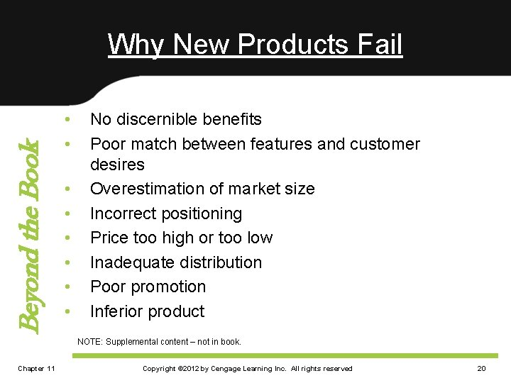 Beyond the Book Why New Products Fail • • No discernible benefits Poor match