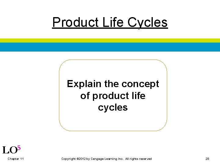 Product Life Cycles Explain the concept of product life cycles LO 5 Chapter 11