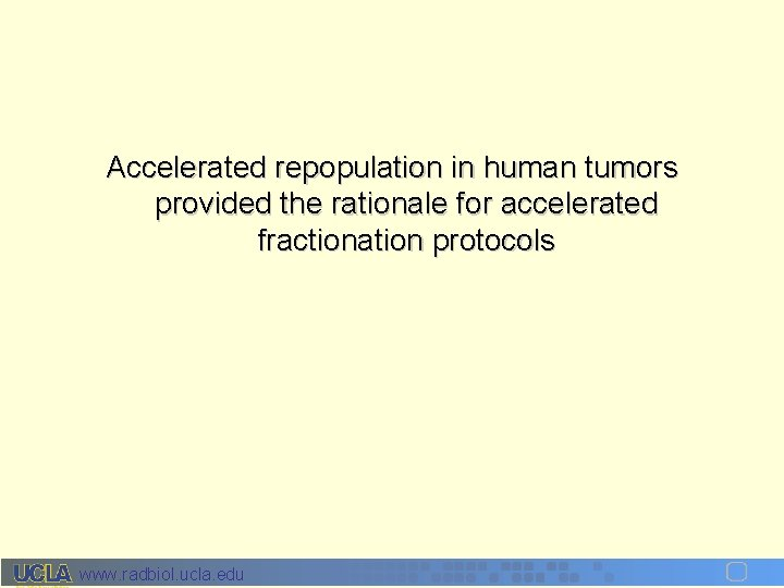 Accelerated repopulation in human tumors provided the rationale for accelerated fractionation protocols www. radbiol.