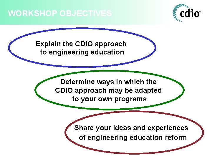 WORKSHOP OBJECTIVES Explain the CDIO approach to engineering education Determine ways in which the