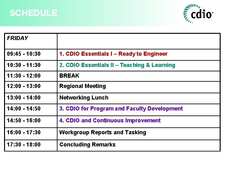SCHEDULE FRIDAY 09: 45 - 10: 30 1. CDIO Essentials I – Ready to