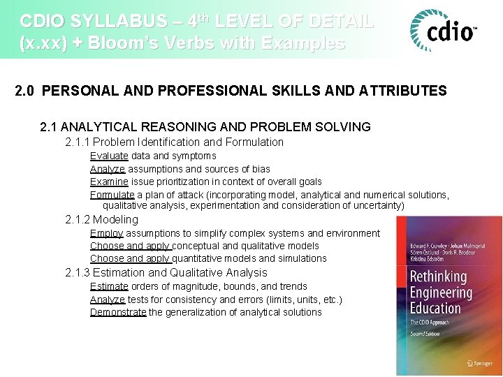 CDIO SYLLABUS – 4 th LEVEL OF DETAIL (x. xx) + Bloom's Verbs with
