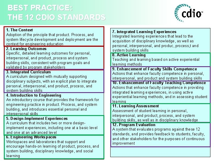 BEST PRACTICE: THE 12 CDIO STANDARDS 1. The Context Adoption of the principle that