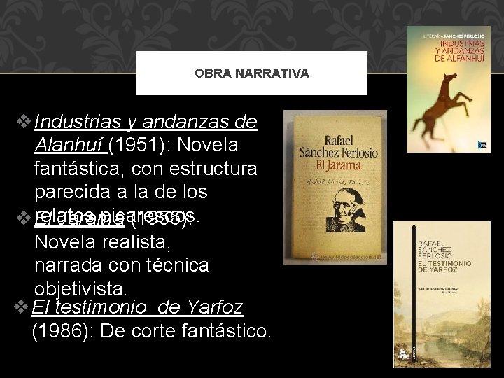 OBRA NARRATIVA v Industrias y andanzas de Alanhuí (1951): Novela fantástica, con estructura parecida