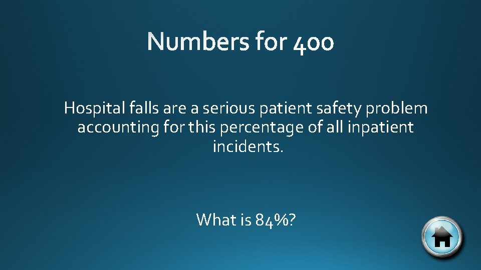 Hospital falls are a serious patient safety problem accounting for this percentage of all