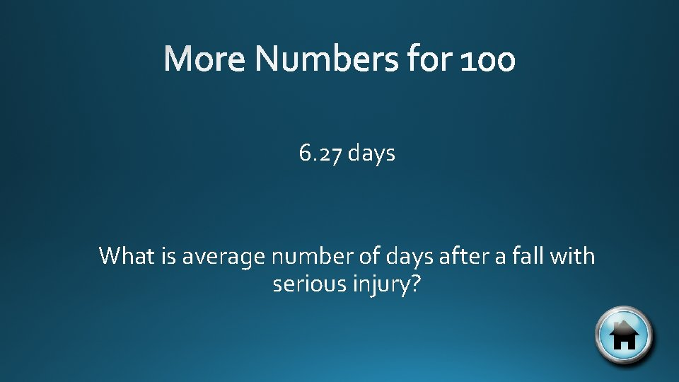 6. 27 days What is average number of days after a fall with serious