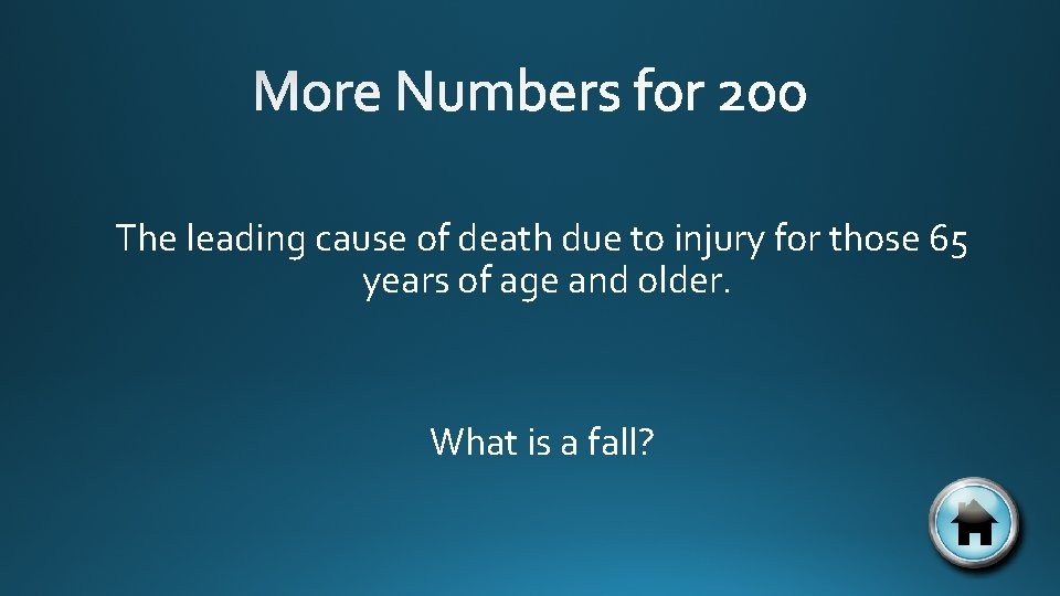 The leading cause of death due to injury for those 65 years of age