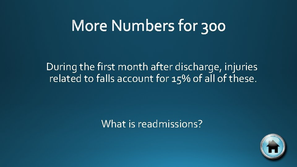 During the first month after discharge, injuries related to falls account for 15% of