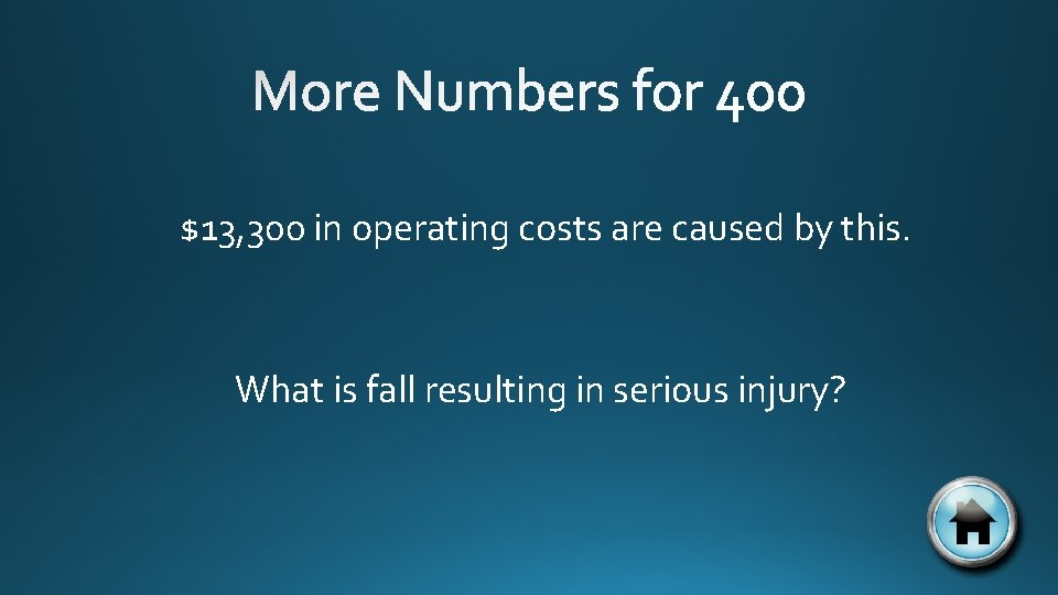 $13, 300 in operating costs are caused by this. What is fall resulting in
