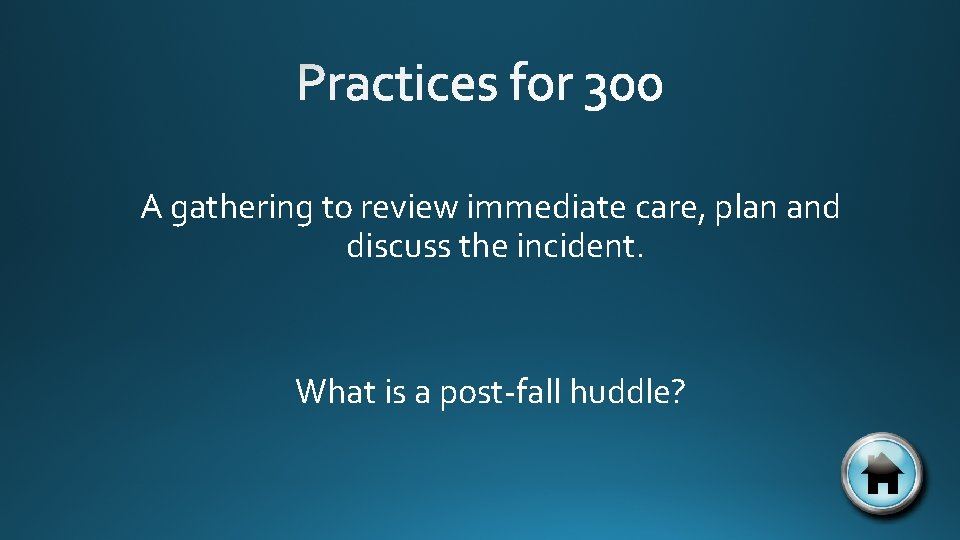 A gathering to review immediate care, plan and discuss the incident. What is a