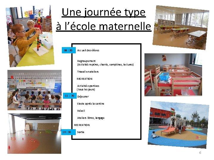 Une journée type à l'école maternelle 08 : 20 Accueil des élèves Regroupement (Activités