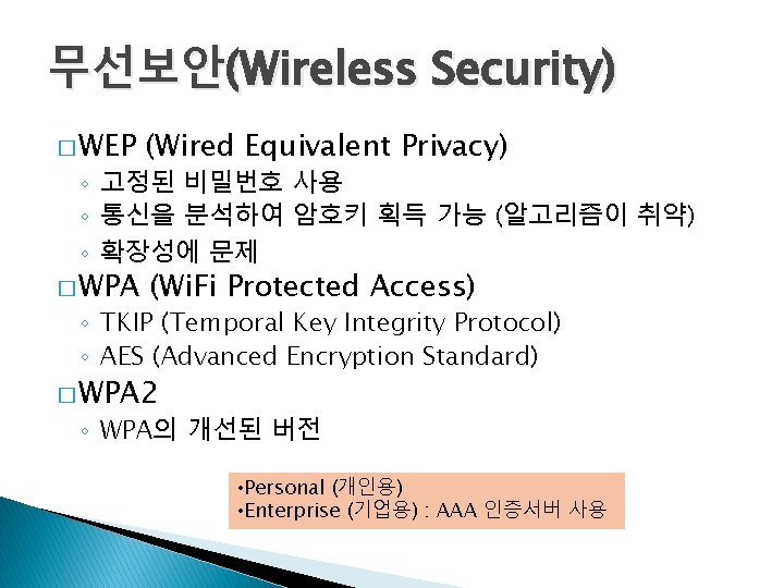 무선보안(Wireless Security) � WEP (Wired Equivalent Privacy) � WPA (Wi. Fi Protected Access) ◦