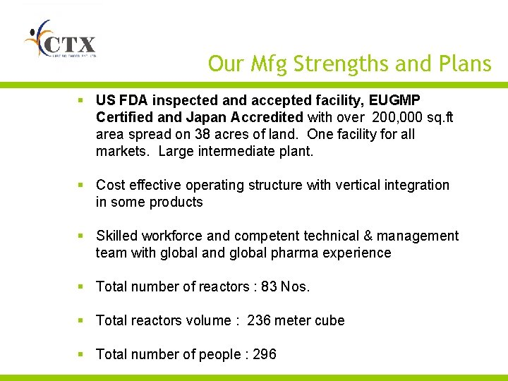 Our Mfg Strengths and Plans § US FDA inspected and accepted facility, EUGMP Certified