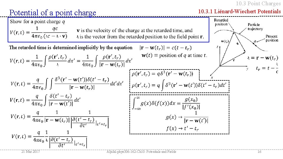 10. 3 Point Charges 10. 3. 1 Liénard-Wiechert Potentials Potential of a point charge