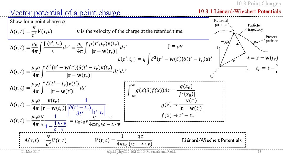 10. 3 Point Charges 10. 3. 1 Liénard-Wiechert Potentials Vector potential of a point