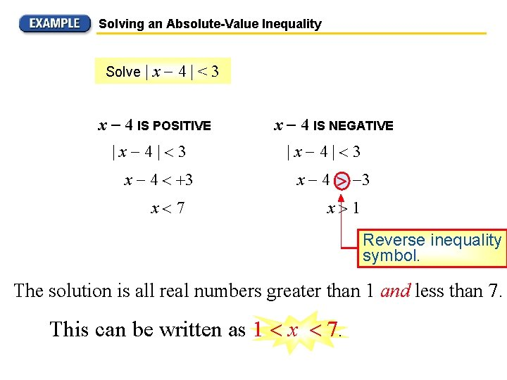 Solving an Absolute-Value Inequality Solve  x 4 <3 x 4 IS POSITIVE  x 4  3