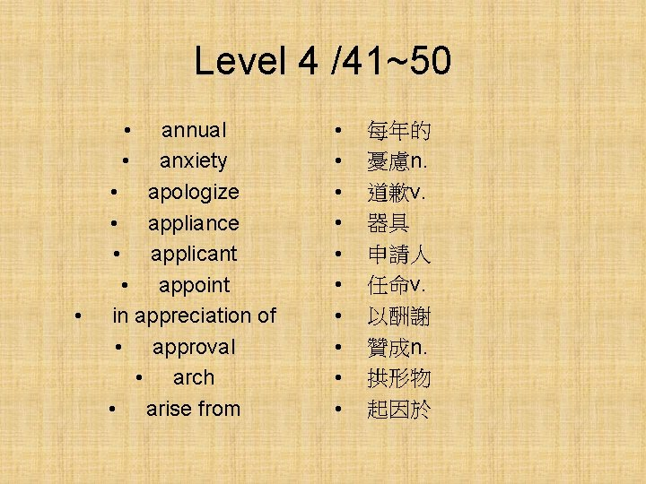 Level 4 /41~50 • • • annual anxiety • apologize • appliance • applicant