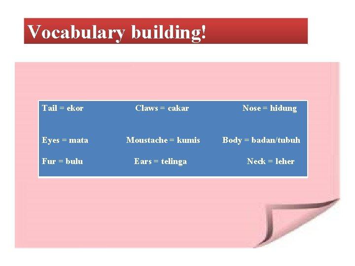 Vocabulary building! Tail = ekor Claws = cakar Eyes = mata Moustache = kumis