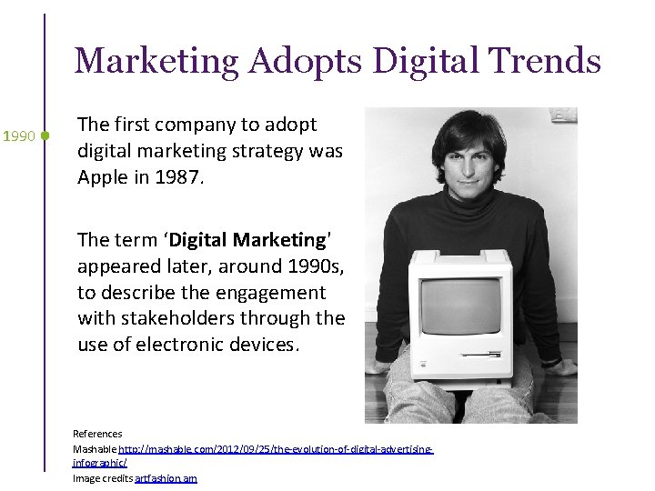 Marketing Adopts Digital Trends 1990 The first company to adopt digital marketing strategy was