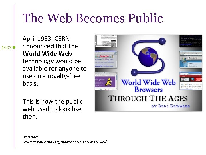 The Web Becomes Public 1993 April 1993, CERN announced that the World Wide Web