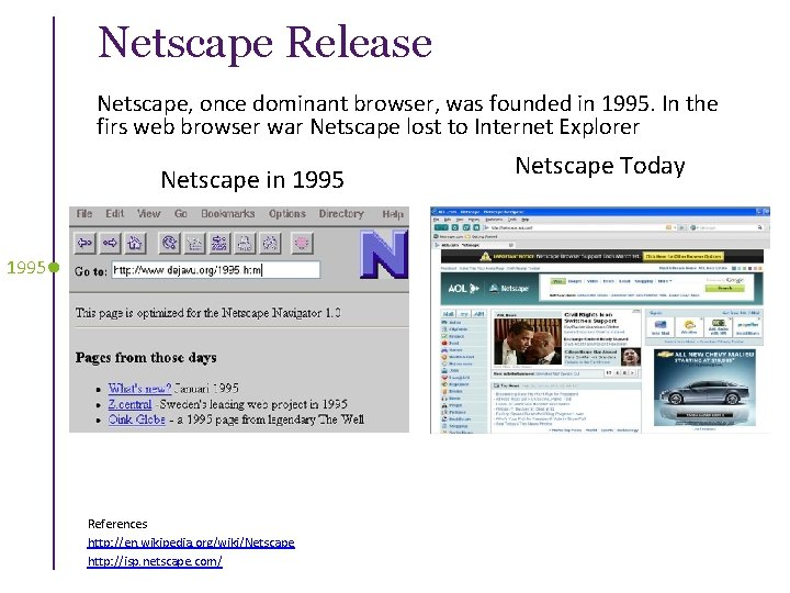 Netscape Release Netscape, once dominant browser, was founded in 1995. In the firs web