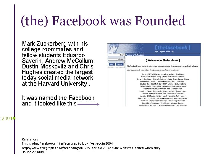 (the) Facebook was Founded Mark Zuckerberg with his college roommates and fellow students Eduardo