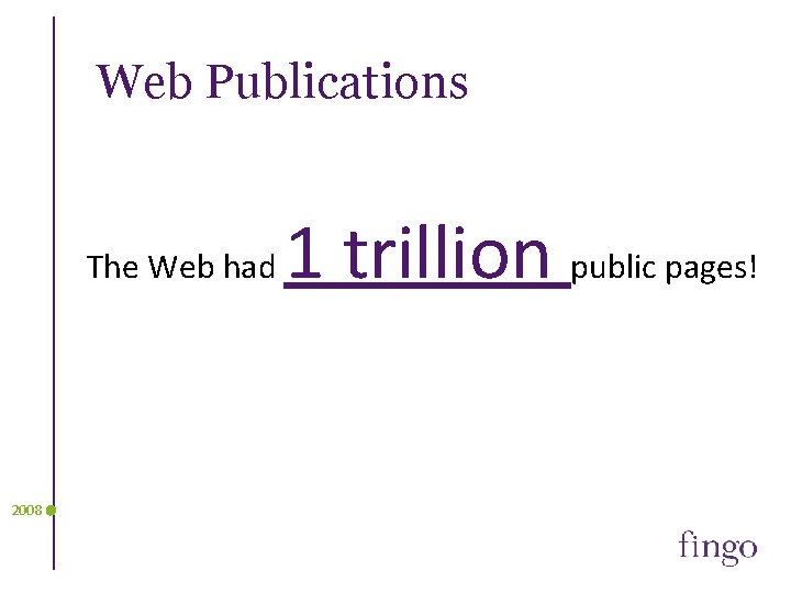 Web Publications The Web had 2008 1 trillion public pages!