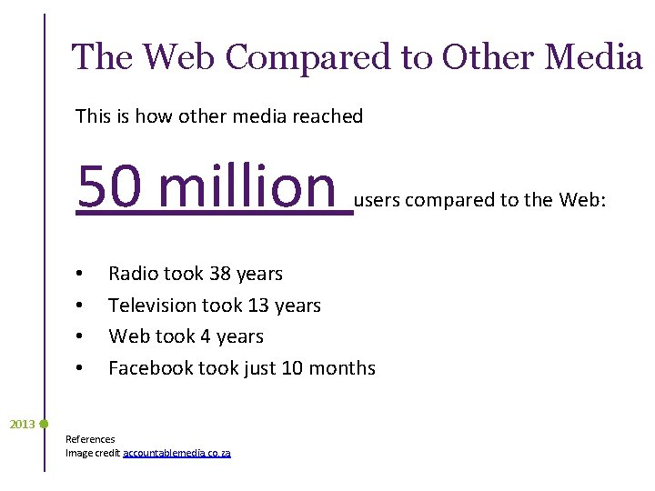 The Web Compared to Other Media This is how other media reached 50 million
