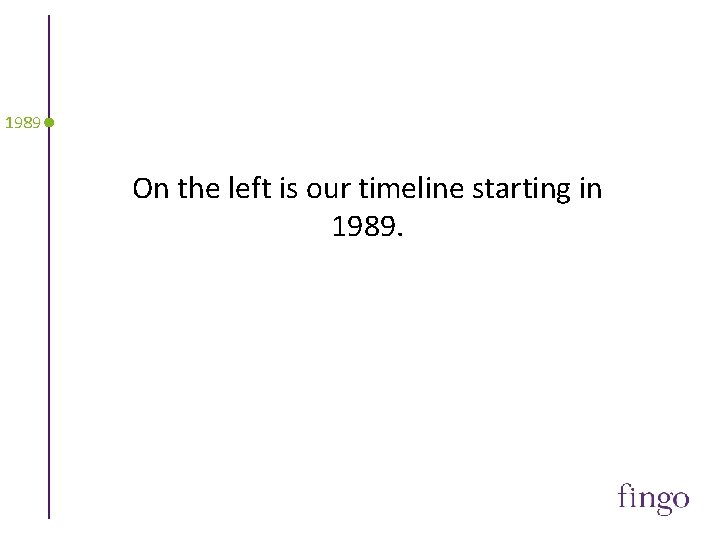 1989 On the left is our timeline starting in 1989.