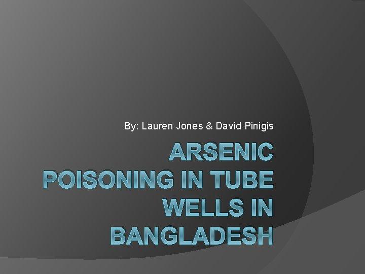 By: Lauren Jones & David Pinigis ARSENIC POISONING IN TUBE WELLS IN BANGLADESH