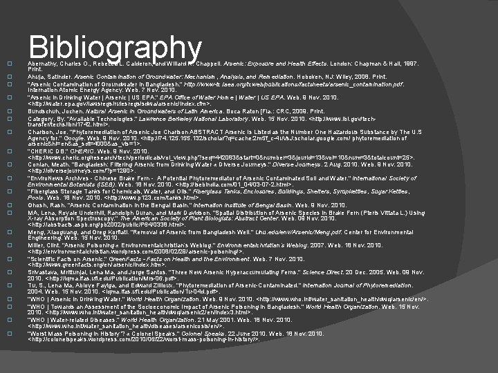 � � � � � � Bibliography Abernathy, Charles O. , Rebecca L. Calderon,