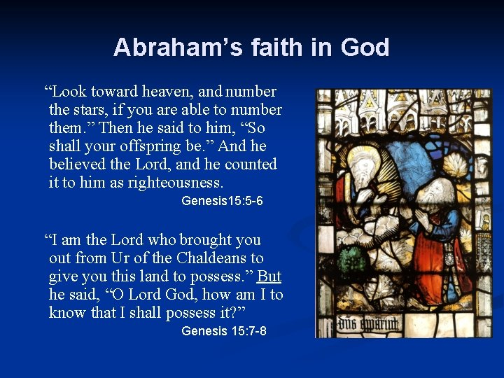 """Abraham's faith in God """"Look toward heaven, and number the stars, if you are"""