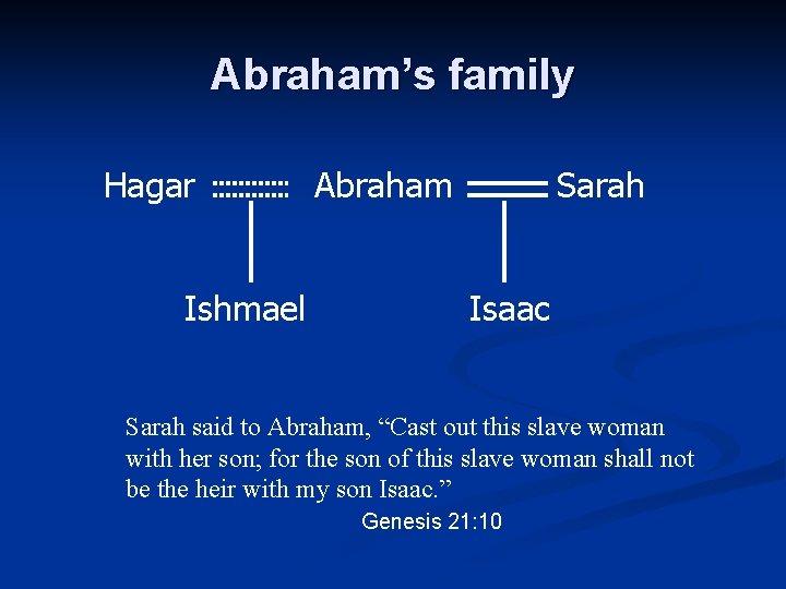 "Abraham's family Hagar Ishmael Abraham Sarah Isaac Sarah said to Abraham, ""Cast out this"