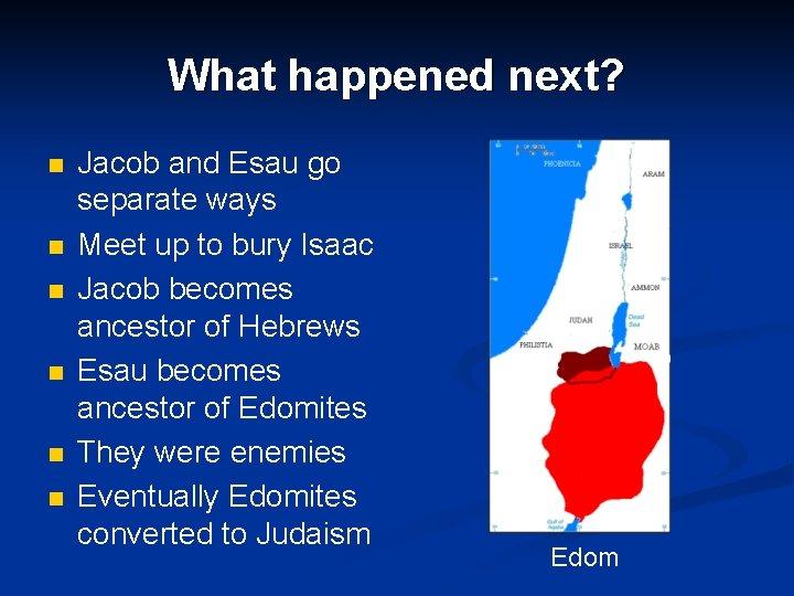 What happened next? n n n Jacob and Esau go separate ways Meet up