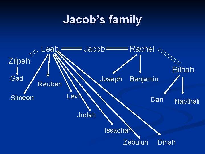 Jacob's family Leah Jacob Rachel Zilpah Bilhah Gad Simeon Joseph Reuben Benjamin Levi Dan