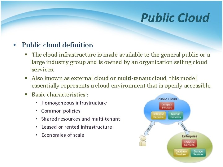 Public Cloud • Public cloud definition § The cloud infrastructure is made available to