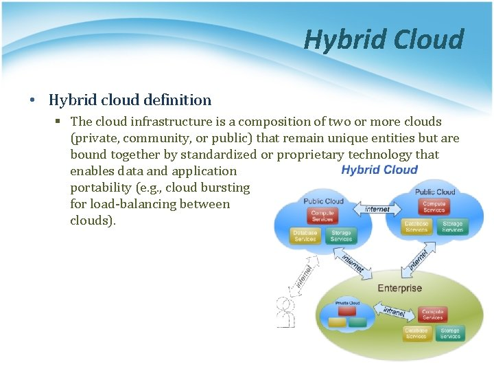 Hybrid Cloud • Hybrid cloud definition § The cloud infrastructure is a composition of