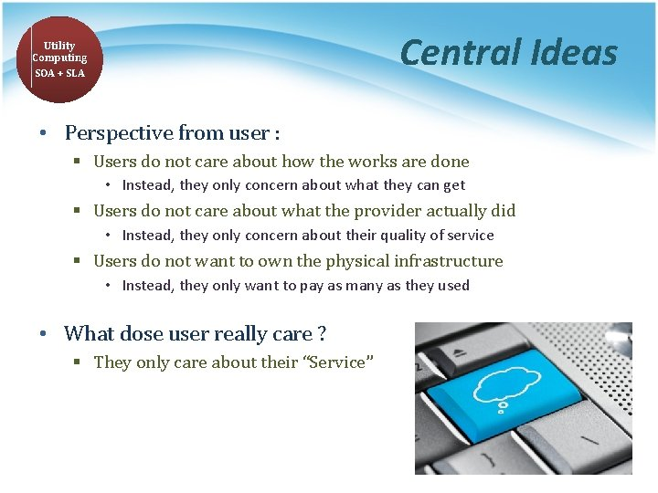 Central Ideas Utility Computing SOA + SLA • Perspective from user : § Users