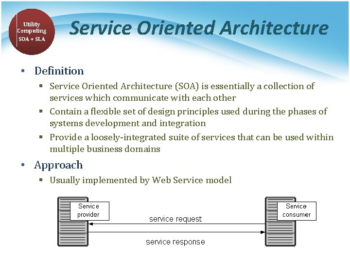 Utility Computing SOA + SLA Service Oriented Architecture • Definition § Service Oriented Architecture