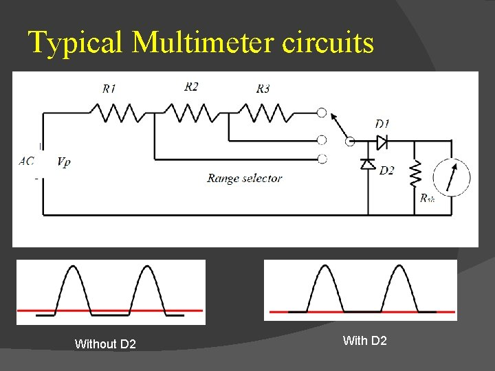 Typical Multimeter circuits Without D 2 With D 2